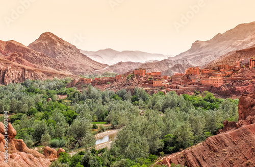Fotobehang Marokko The Dades Canyon and the city within, Ouazazate region, Morocco