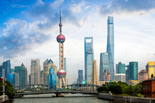 Shanghai skyline with historical Waibaidu bridge, Shanghai, China