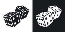 Vector Dices Icon. Two-tone Version On Black And White Background