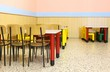 nursery lunchroom with small chairs and dining table