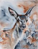 jeleń w lesie akwarela - 116610439
