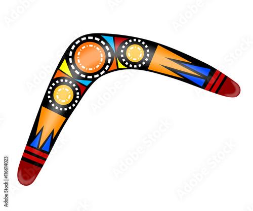 Photo Australian boomerang. Cartoon boomerang on a white background. V