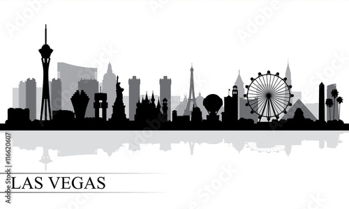 Las Vegas city skyline silhouette background Canvas Print