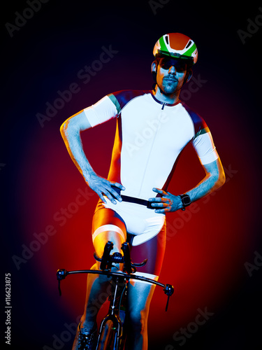 man cyclist cycling bicycle triathlon isolated - 116623875