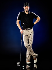Fototapeta Golf man golfer golfing isolated