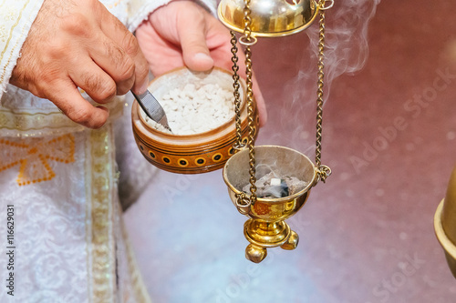 priest singing in a christian sermon censer church rite foog Slika na platnu