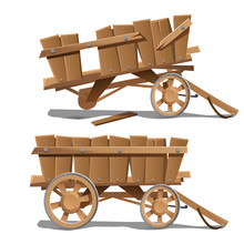 Two Images Of Old Wooden Carts...