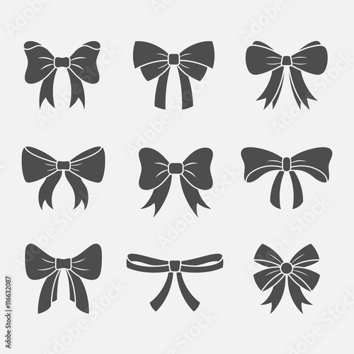 Bows with ribbons vector set Canvas