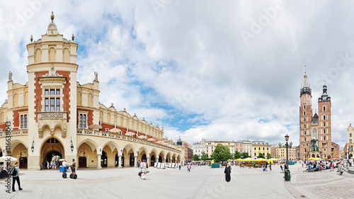 Old Town square in Krakow, Poland -Stitched Panorama