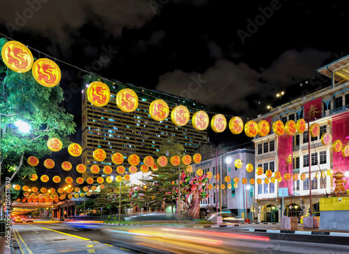 Singapore New Bridge Road in Chinatown decorated for New Year