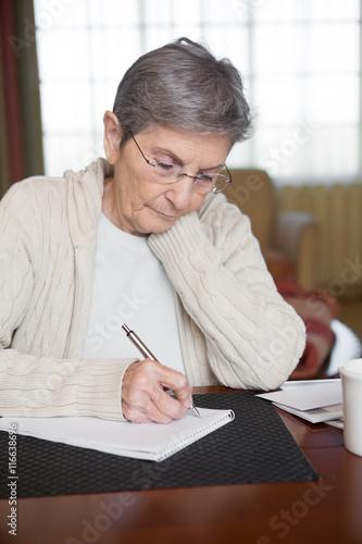 Senior woman working on her bills Canvas Print