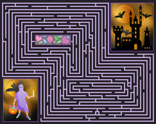 Halloween Maze. Ghost Looking For A Way Into The Haunted Castle. Vector Illustration.