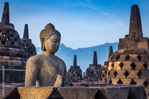 Buddha statue in Borobudur Temple, Java island, Indonesia.