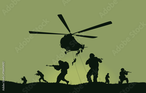 Fotografía  Illustration, the soldiers going to attack and helicopters.