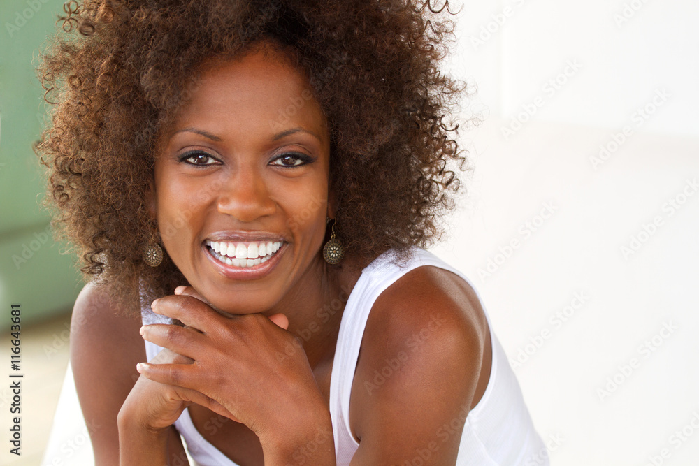 Fototapety, obrazy: Beautiful African American Woman Smiling
