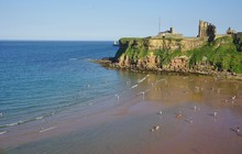 Beach And Priory Ruins In Tynemouth, England