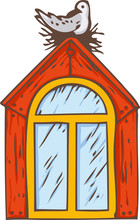 Attic Arched Window With Red A...