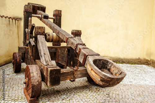 фотографія Wooden Medieval Catapult