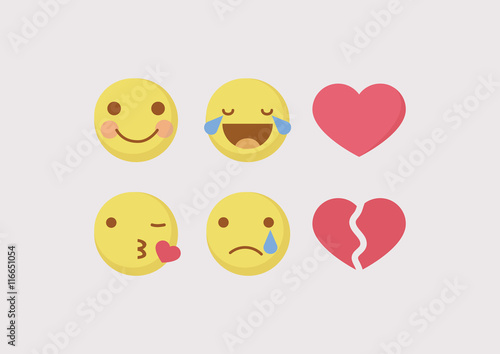 Fotografia, Obraz Vector - Yellow emoticon cartoon character
