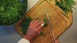 Male hands chopping green