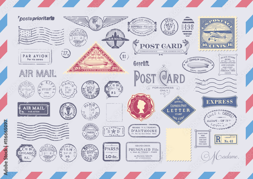 Fototapety, obrazy: collection of mail themed design elements -grungy textured postage and rubber stamps, postcard headers and blank backgrounds/frames  on an airmail envelope background