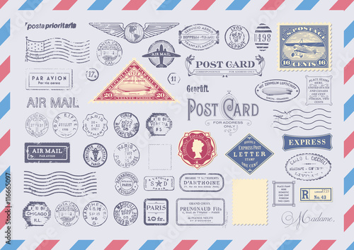 collection of mail themed design elements -grungy textured postage and rubber st Wallpaper Mural