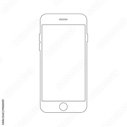 Outline drawing smartphone concept. Elegant thin line design.
