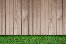 Green Grass With Old Plank Rustic Wooden Outdoor Floor Top View