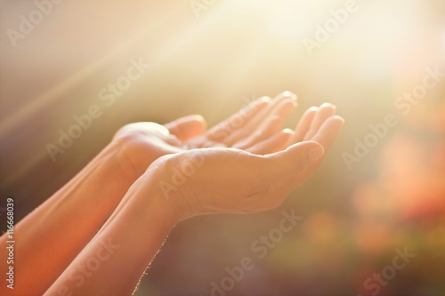 Human hands respecting and praying on nature background