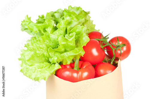 Poster Cuisine Fresh healthy groceries in a paper bag