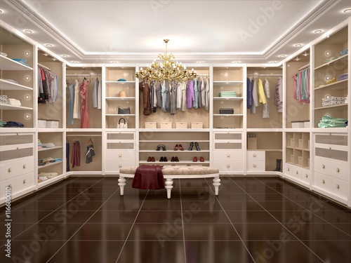 luxury wardrobe in modern style. 3d illustration. Fototapet