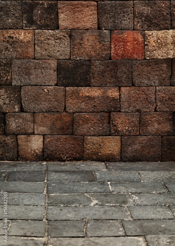 Staande foto Industrial geb. Stone blocks wall and floor - medieval architecture