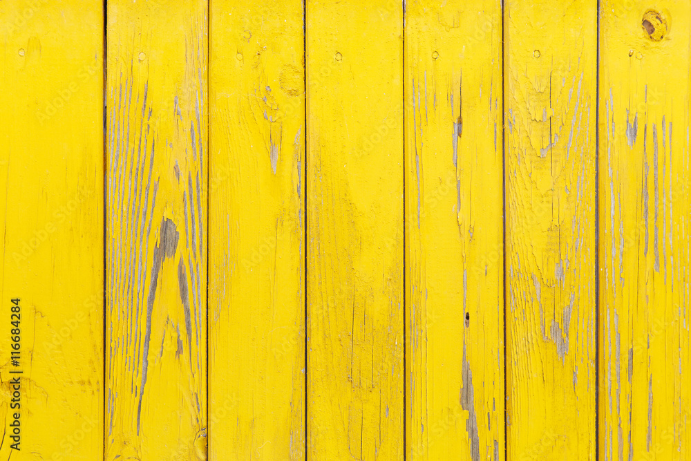 Fototapety, obrazy: Vertical background of the wooden planks with cracked yellow paint