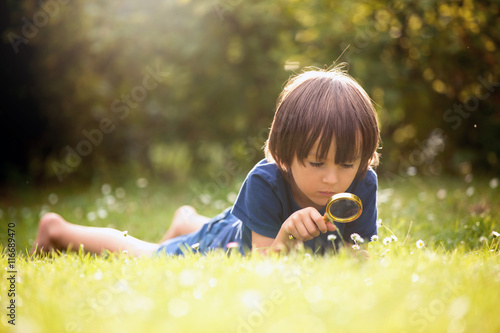 Fotomural Beautiful happy child, boy, exploring nature with magnifying gla