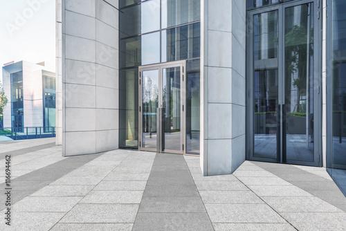 Fotografía Empty brick floor with modern building in Shanghai