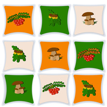 Set Of Cushions Fall. Pillow Isolated On White Background. Pillow Vector Illustration. Set Of Cushions For The Interior