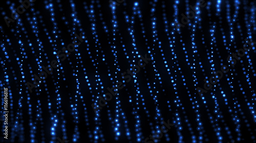Fotografia, Obraz  3d render abstract digital particles on black background with blue dots