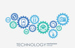 Technology mechanism concept. Abstract background with integrated gears and icons for digital, strategy, internet, network, connect, communicate, social media and global concepts. Vector infographic.