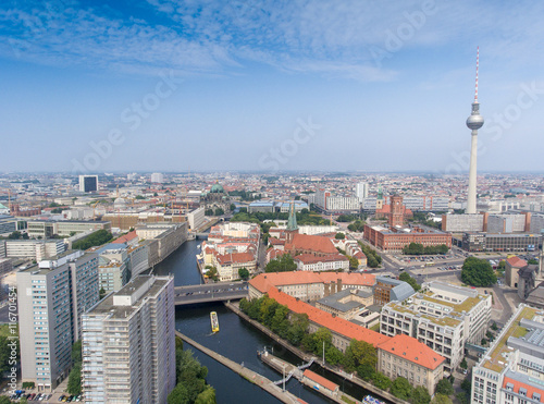 Photo  Berlin aerial city view. Alexanderplatz and town center