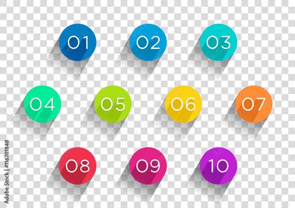 Fototapeta Number Bullet Points Flat Circles Transparent 1 to 10