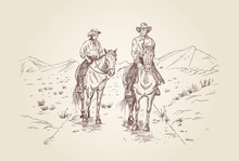 Hand Drawn Cowboys Riding Horses In Desert