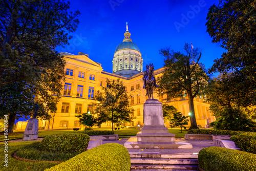 Plakat Georgia State Capitol w Atlancie, Georgia, USA.