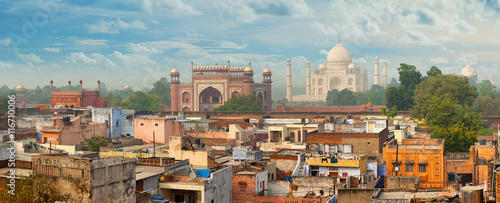 Photo Panorama of Agra city, India. Taj Mahal in the background