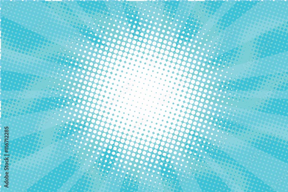 Fototapeta Blue Sunny haze pop art retro vector background