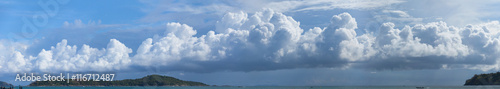 Fotografering  Beautiful Panorama of Storm Clouds Building over a Tropical Para