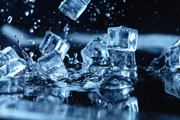 Fototapeta Woda Krople ice cubes with water splash
