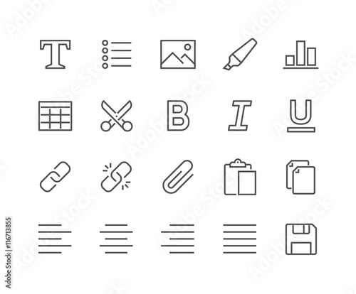 Obraz Line Text Editing Icons - fototapety do salonu