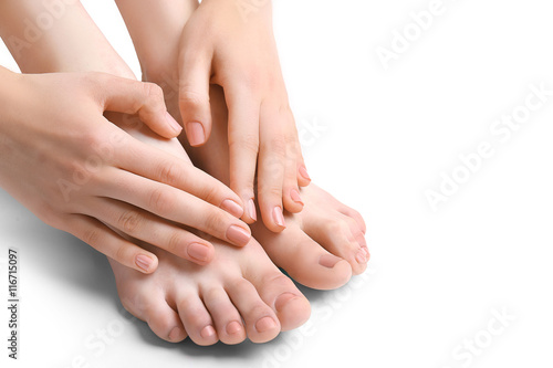 Poster Pedicure Female feet treatment, isolated on white