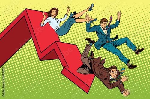 Fotografia  Business men and woman financial collapse