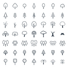 Tree Icon Set In Thin Line Sty...